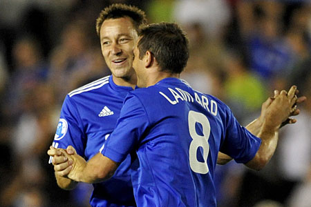 John Terry and Frank Lampard celebrate Chelsea's victory