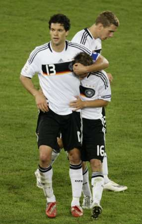Germany's Ballack, Klose, and Philipp Lahm
