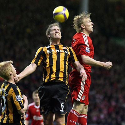 Kuyt playing for Liverpool against Hull City at Anfield