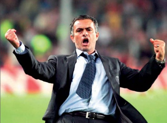 jose mourinho inter milan. Jose Mourinho celebrates after