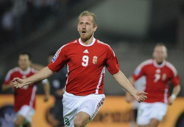 Sandor Torghelle celebrates after scoring a good goal for Hungary
