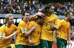 Australian players   celebrating together.