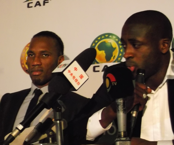 2012 CAF Awards - Didier Drogba and Yaya Toure address themselves to the press - December 20, 2012. Photo from LiveSoccerTV.com