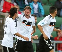 Germany celebrate a goal.