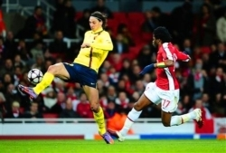 Zlatan  Ibrahimovic against Arsenal for Barcelona