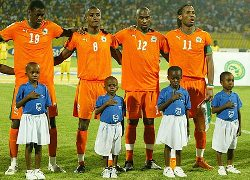 Cote d'Ivoire players lined up before a match