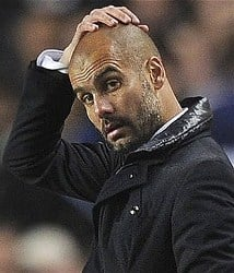 Barcelona's Pep Guardiola has problems to solve ahead of El Clasico on April 21, 2012.