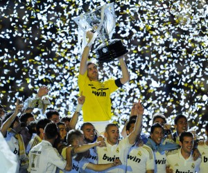 Real Madrid won the Spanish La Liga title with 100 points on May 13, 2012.