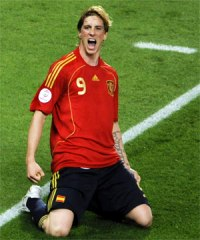 Spain's Fernando Torres celebrating near the corner flag after