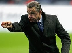 Switzerland's Ottmar Hitzfeld gestures at his players during a match.