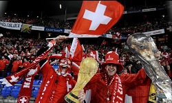 Switzerland fans celebrating their country's qualification to the 2010 World Cup.